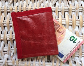 Portfolio leather cowhide aged Red
