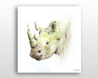 Rhino Art Print, Safari Wall Decor, Safari Animal Painting, Limited Edition Giclée Art Print