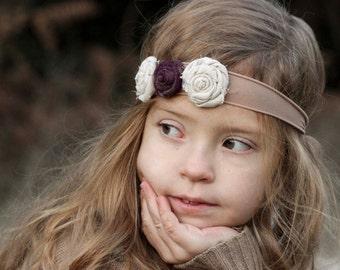 Fabric Rolled Rose Headband, Baby Flower Headband, Photo Prop, Toddler Headband.