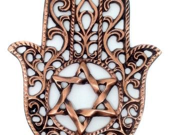 Hamsa Bronze Plated Wall Hanging Star of David Kabbalah Judaica Jerusalem Israel