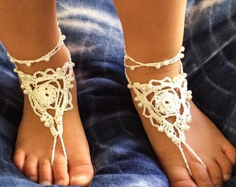 Baby barefoot sandals, Toddler barefoot sandals. Flower girl shoes. Boho kids. No shoes. Foot jewellery. Beach wedding. Boho wedding.
