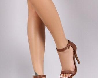 Anne Michelle Simple Open Toe Ankle Strap Heel