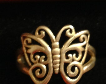 butterfly sterling silver ring size 8