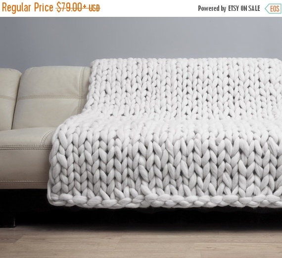 chunky knit blanket merino wool blanket bulky by woolwow on etsy. Black Bedroom Furniture Sets. Home Design Ideas