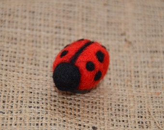 Handmade needle felted ladybird brooch pin