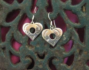 Sterling silver abstract heart drop earrings