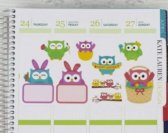 Easter Planner Stickers for Erin Condren Life Planner, Happy Planner, Plum Paper, Easter Stickers, Owl Stickers