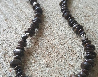 Handmade, Bronzite gemstone necklace with sterling silver