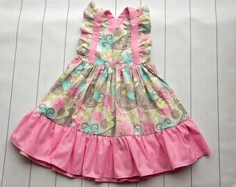 Girls Dress, Toddlers Dress, Oh How Tweet Dress, Ruffle Hem, Light Pink Dress, Birds dress,  Spring Dress, Summer Dress, Paisley