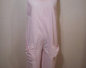 vintage 80s pink summer play jumpsuit pull on sleeveless adjustable baggy
