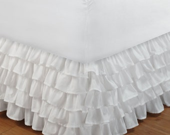"White Ruffle Bed Skirt with 14"" to 30"" Deep Length"