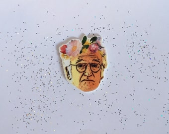 Larry David Pin [brooch lapel pin curb your enthusiasm snapchat filter flower crown]