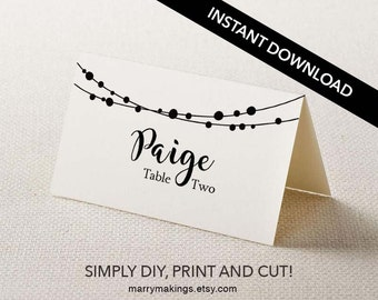 Place Card Template, Wedding Template, Editable DIY Place Card, Printable Place Card, Wedding Place Card, String lights, Light, Rustic, 23