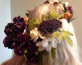 HERA - flower crown, wedding crown, leafy bridal headpiece, rustic flower hairpiece, autumn bride, bridal wreath