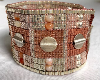 Wide Hand Woven Beaded Bracelet