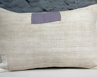"16""x24"" Natural White Hemp Pillow. Midcentury Handwoven Hemp - original patching. Decorative Pillow."