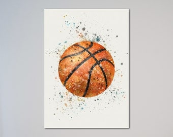 Basketball Watercolor illustrations Art Print gift Picture friend express delivery option Basket Ball Sport