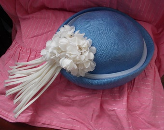 1960s Vintage Wedding Special Occasion Nautical Blue Hat with Cream Floral Trim Fascinator styley Tassels