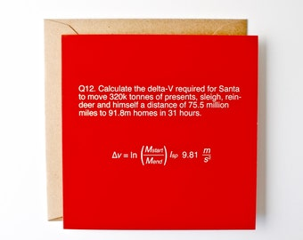 Funny christmas card, science xmas card, exam question, rocket brainteaser, spoof question, santa and reindeer