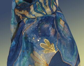 Elephant deluxe handpainted silk scarf