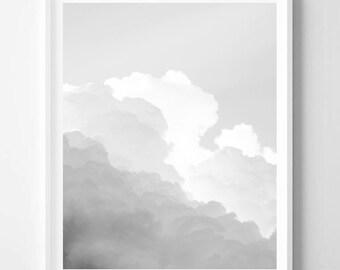 Clouds print, Sky print, Minimalist, Landscape, Modern art, Wall art decor, Digital art, Printable, Digital Instant Download 16x20, 20x16