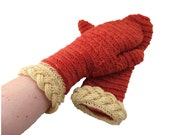Needlebound mittens in red and yellow, plant dyed, pure wool, medieval clothing reenactors, vikings dark ages, historically accurate