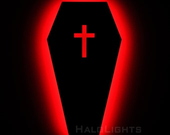 Lighted Gothic Coffin Wall Art - Illuminated Gothic Sign