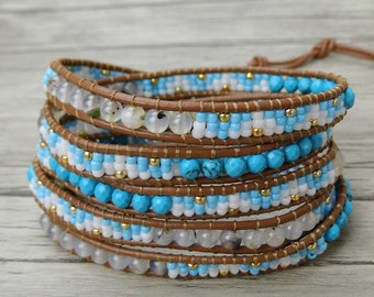 Turquoise wrap bracelet gypsy wrap bracelet boho leather wrap bracelet woman leather bead bracelet long strand bracelet bead Jewelry SL-0414