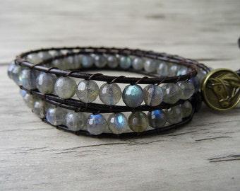 Labradorite bracelet moonstone bracelet gems wrap bracelet gemstone bracelet boho beaded bracelet yoga wrap bracelet Jewelry SL-0103