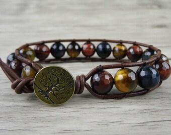 wrap bracelet mens wrap bracelet Leather bracelet gemstone wrap bracelet Tiger eye bracelet boho wrap bracelet gypsy wrap bracelet SL-0125