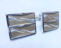 Vintage Cuff Links, Gold and Silver Tone, Two Tone, Wave Design, Large Cuff Links, Menswear, Rectangular Cuff Links, Mens Formal Attire