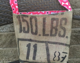 Crossbody Burlap Coffee Bag Purse - Hot Pink Poppy Flower Print