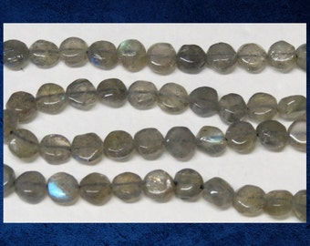 """Labradorite - 6"""" strand of smooth flat round 8mm. Natural grey and blue luxe gemstone beads. #LAB-006"""