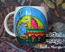 Elephant Cup Handpainted Mug Fine Porcelain Decorated Kitchen Dining Indian Mug Ceramic Design for Order Customized Bird Mug Bright Colours