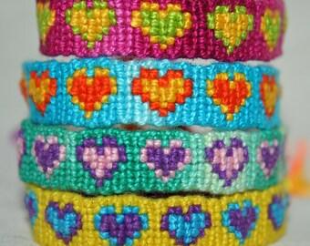 Friendship Bracelets with Hearts, Spots & Zigzags
