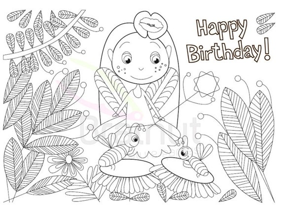 Fairy Happy Birthday Color Pages Fairy Coloring Pages By