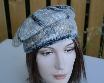 Slouchy Beret,Knit Beret,Slouch Hat,Tam,Cappucino,Gray White Twist, Flower, Chunky, Warm, Teens, City Hat, Birthday Gifts, Gifts for Her