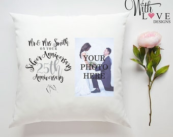 25th Silver Wedding Anniversary Mr & Mrs Couple Love Relationship Personalised Custom Made Pillow Cushion Photo Gift Customised