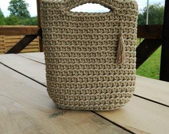 Light pistachio crochet rope bag/knitted handbag/woman accessories/fashion/sand/market bag/handmade crocheted bag