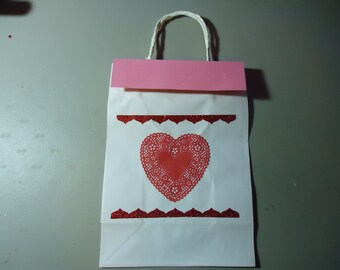Gift bag one of a kind. Removable topper and gift tag. Valentines. Pink and red.  2.00 discount if purchasing set of 5