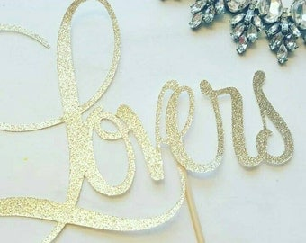 Lovers gold glitter cake topper, Engagement, Wedding, Valentines Day, candle alternative