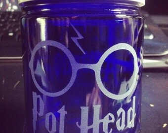 Custom Etched Glass Medical Dispensary Stash Jar - Harry Pothead Etched Stash Jar 4oz. Cobalt Blue