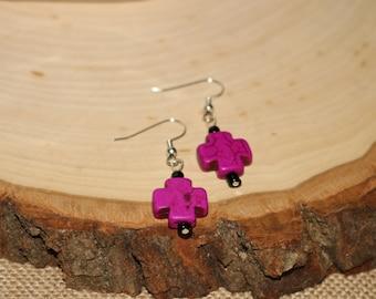 Purple and Black Stone Cross Earrings
