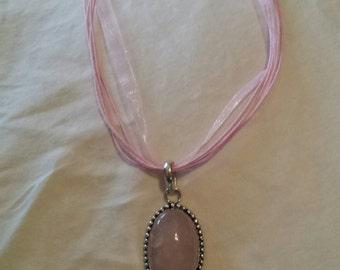 Natural rose quartz pendant
