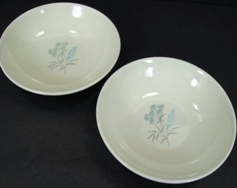 "Royal China Stetson Maytime 2 Berry Dessert Bowls 5 1/4"" Dia Light Blue Flowers"