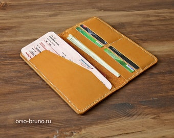 Leather travel wallet, Travel passport holder, Ticket holder wallet, Boarding pass wallet, Boarding pass holder, Leather ticket holder.