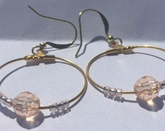 Champagne Bead Hoop Dangle Earrings