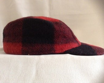 Vintage Red Plaid Hunter' Cap