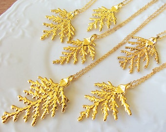 Cypress Leaf 24k Gold Dipped Pendant with Gold Plated Chain, Real Leaf Pendant Necklace Gold Plated, Christmas Jewelry Gift Set, Edel-Heid