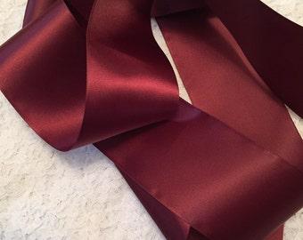 Burgundy Satin Ribbon/Maroon Satin Ribbon/Satin Ribbon/Burgundy Wedding Dress Sash/Wedding Ribbon Sash/Sherry Satin Ribbon/Sherry RIbbon
